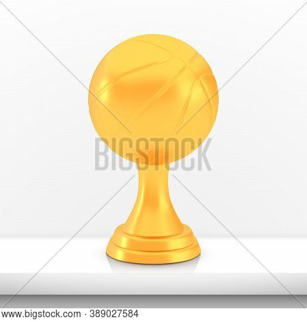 Winner Basketball Cup Award, Golden Trophy Logo Isolated On White Shelf Table Background, Photo Real