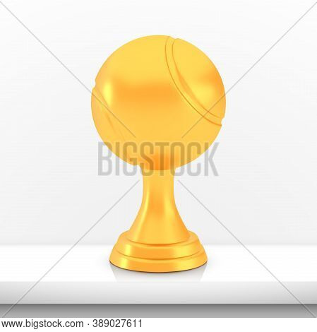 Winner Tennis Cup Award, Golden Trophy Logo Isolated On White Shelf Table Background, Photo Realisti