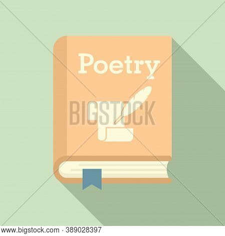 Literary Poetry Book Icon. Flat Illustration Of Literary Poetry Book Vector Icon For Web Design