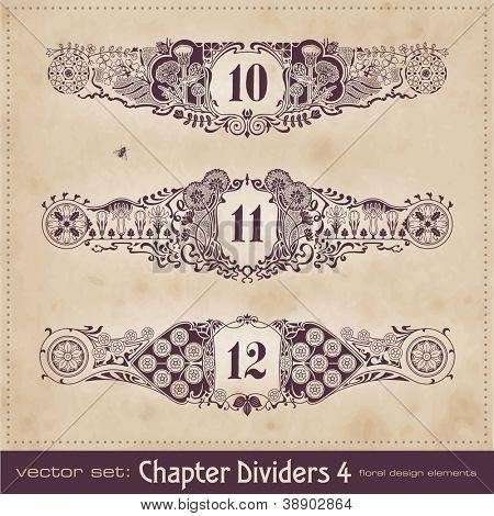 retro floral chapter dividers - set 4