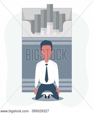 Sick Man On The Knees Beside The Open Cigarettes Pack Box . Flat Style Illustration , Icon Logo Desi
