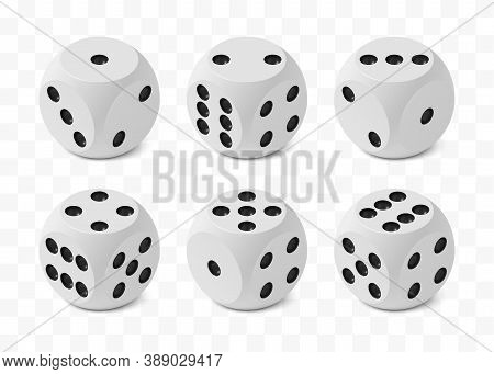 Set Of Six Realistic Isometric Game Dices With Rounded Edges And Angles, Correct Numbering Isolated