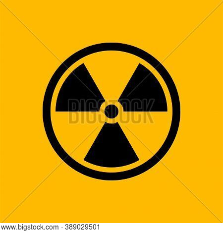 Black Radiation Symbol Isolated On Yellow Background, Nuclear Vector Illustration With Clipping Path