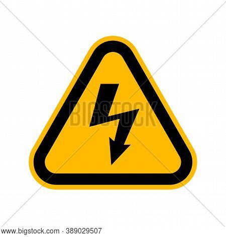 Attention Beware High Voltage Sign, Danger Triangle Symbol Isolated On White Background, Hazardous V