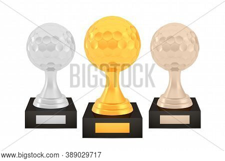 Winner Golf Awards Set, Gold Silver Bronze Trophy Cups On Stands With Empty Plates, Three Logo Icons