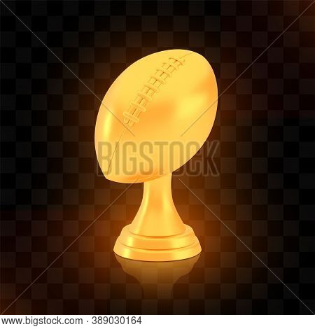 Winner American Football Cup Award, Golden Trophy Logo Isolated On Black Transparent Background, Pho