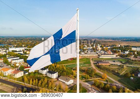 Aerial View Of The Largest Finnish Flag In The World And The Tallest Flagpole In Europe Against Of H