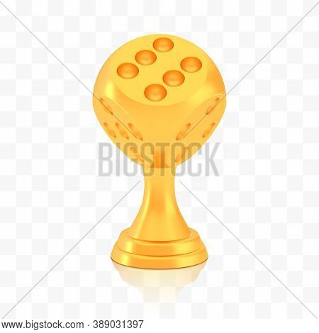 Winner Dice Cup Award, Golden Trophy Logo Isolated On White Transparent Background, Photo Realistic