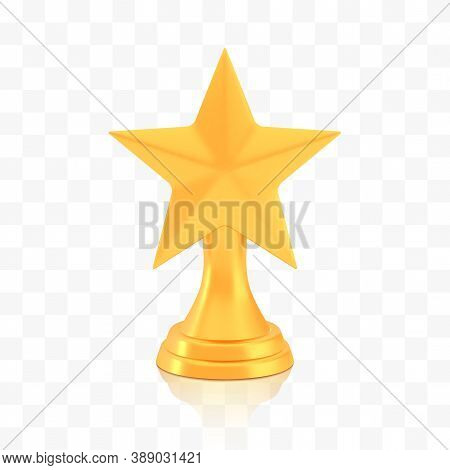 Winner Star Cup Award, Golden Trophy Logo Isolated On White Transparent Background, Photo Realistic