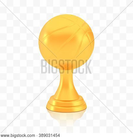 Winner Basketball Cup Award, Golden Trophy Logo Isolated On White Transparent Background, Photo Real