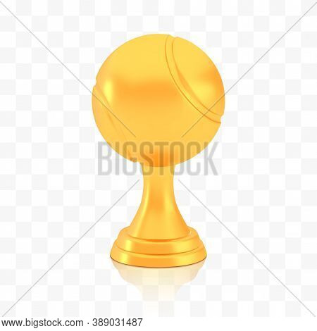 Winner Tennis Cup Award, Golden Trophy Logo Isolated On White Transparent Background, Photo Realisti