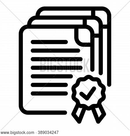 Documents Reliability Icon. Outline Documents Reliability Vector Icon For Web Design Isolated On Whi
