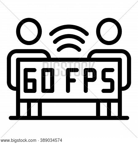 60 Fps Stream Icon. Outline 60 Fps Stream Vector Icon For Web Design Isolated On White Background