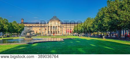 Wiesbaden, Germany, August 24, 2019: Panorama Of Kurhaus Or Cure House Spa And Casino Building And B