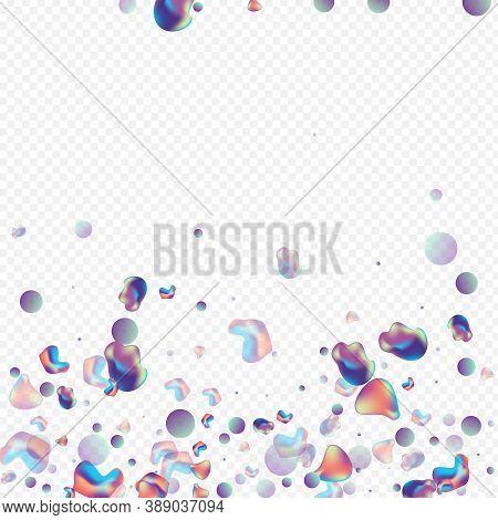 Light Elements Retro Vector Transparent Background. Organic Holography Design. Color Creative Fluid