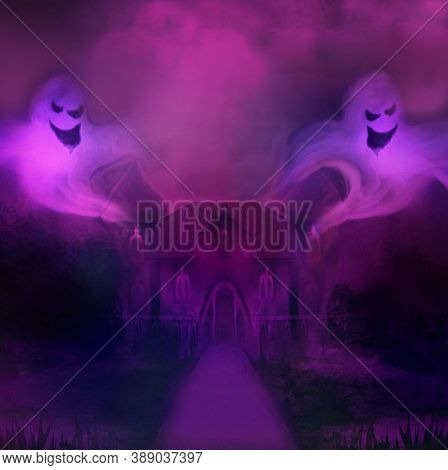 Halloween Terrible Illustration With A Ghost In Front Of A Haunted Castle , Raster