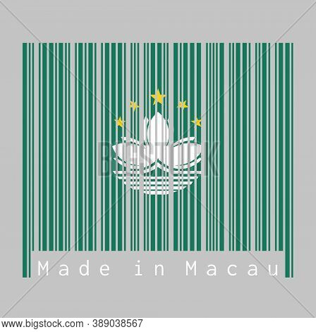 Barcode Set The Color Of Macau Flag, Green With A Lotus And Stylised Governor Nobre De Carvalho Brid