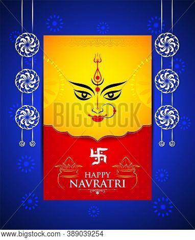 Creative Background Of Happy Navratri/ Durga Puja Celebration With Face Of Goddess Durga Devi And De