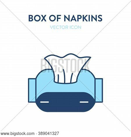 Box Of Tissues Vector Icon. Vector Illustration Of A Cardboard Box With Dry Wipes. Wipes, Doily, Ser