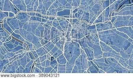 Detailed Map Of Sao Paulo City Administrative Area. Royalty Free Vector Illustration. Cityscape Pano