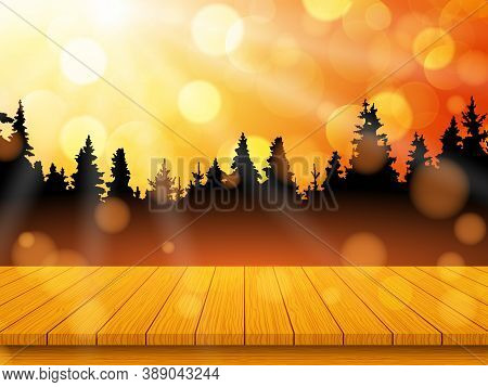 Golden Autumn Landscape With Pine Forest And Empty Rustic Wooden Table For Background. Vector Illust