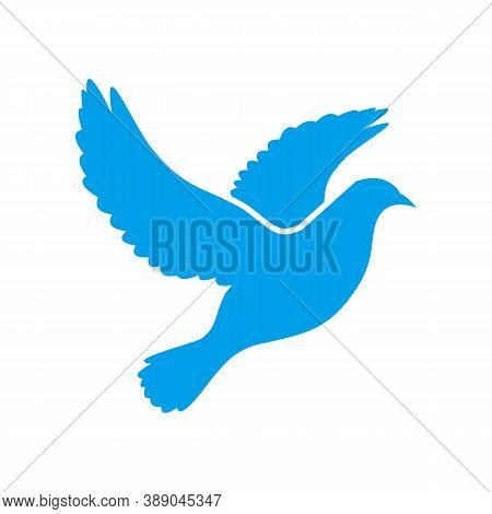 Dove Of Peace Simple Icon. Flying Dove Of Peace Icon Art. Peace Concept Icon. Pacifism Concept Image