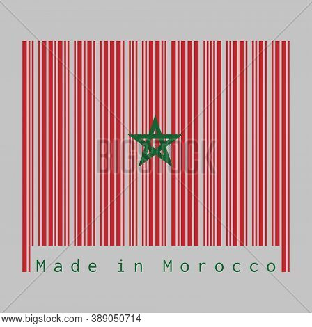 Barcode Set The Color Of Morocco Flag, Red Field With A Black-bordered Green Pentagram. Text: Made I