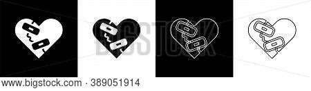 Set Healed Broken Heart Or Divorce Icon Isolated On Black And White Background. Shattered And Patche