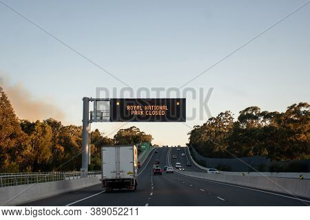 Sydney, Australia. 2020-10-10 An Out Of Control Bushfire Has Forced The Closure Of The Royal Nationa