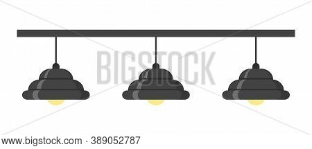 Black Loft Style Chandelier. Three Lamps. Isolated On White Background. Vector Illustration.