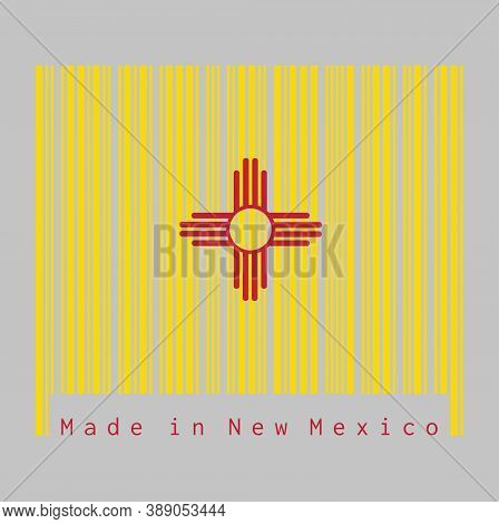 Barcode Set The Color Of New Mexico Flag, The Red And Yellow Of Old Spain. The Ancient Zia Sun Symbo
