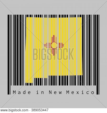 Barcode Set The Shape To New Mexico Map Outline And The Color Of New Mexico Flag On Black Barcode Wi