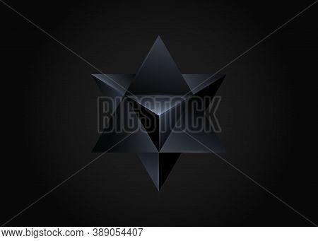 3d Black Merkaba, Sacred Geometry. Esoteric Or Spiritual Symbol. Vector Isolated On Black Background