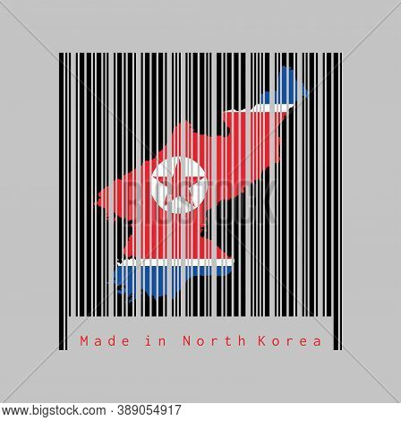 Barcode Set The Shape To North Korea Map Outline And The Color Of North Korea Flag On Black Barcode