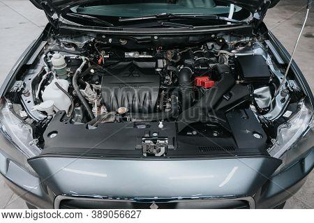 Novosibirsk, Russia - October 08, 2020: Mitsubishi Lancer, Close Up Of A Clean Motor Block. Internal