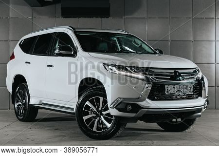Novosibirsk, Russia - October 08, 2020: White Mitsubishi Pajero Sport, Front View.  Photography Of A