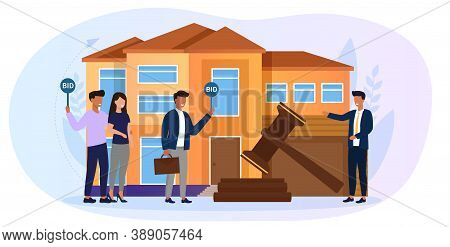 Sale At Auction Of A Dwelling House Confiscated From Bankruptcy. Cartoon Vector Illustration