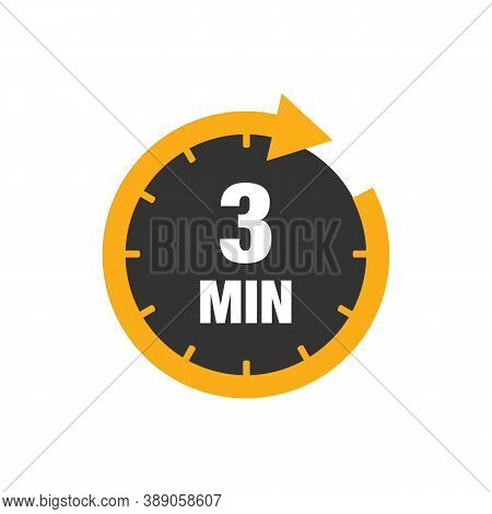 Three Minutes Icon Isolated On White Background. Cooking Time Concept. 3 Minutes Waiting Time Icon.
