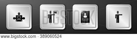 Set Project Team Base, Team Leader, Resume And Head Hunting Icon. Silver Square Button. Vector