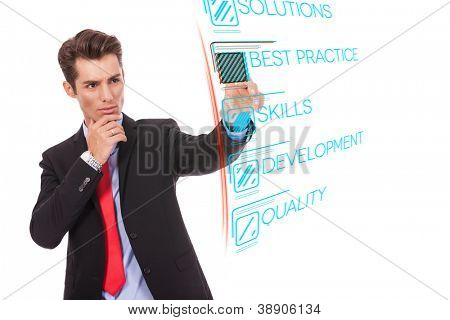 Young business man pushing Best Practice digital button, focus on finger and button