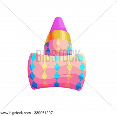 Birthday Party Whistle Accessory. Isolated Clown Blower. 3d Blowout Isolated Vector Illustration. Ca