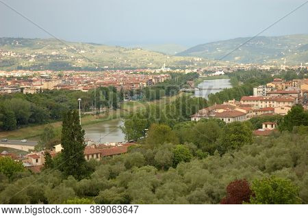 River, Buildings, Buildings, Urban Landscape Green Spaces Trees Summer Day