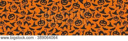 Halloween Orange Festive Seamless Pattern. Endless Background With Pumpkins, Skulls, Bats, Spiders,