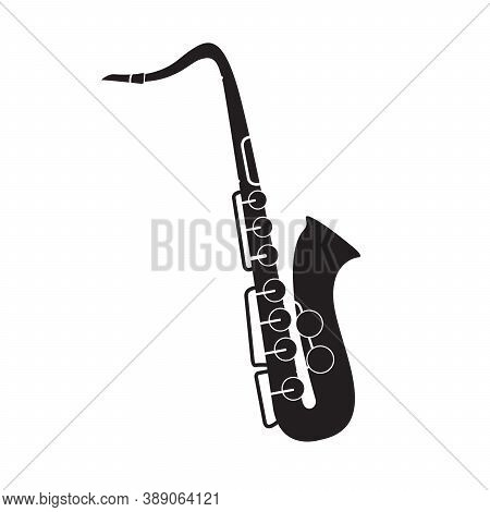 Saxophone Musical Instrument. Black Silhouette.for Playing For Jazz.