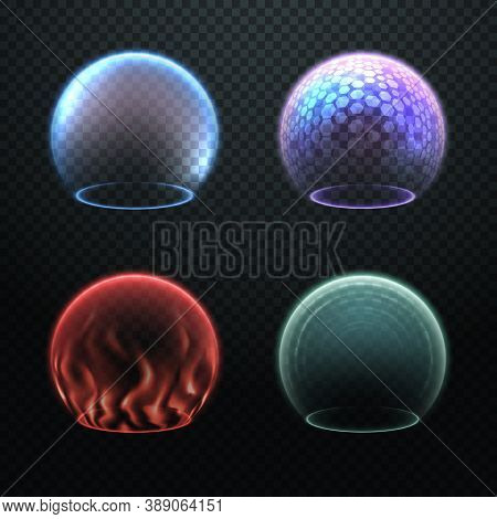 Colorful Force Field Set Isolated On Transparency Background, Various Protection Sphere, Force Bubbl