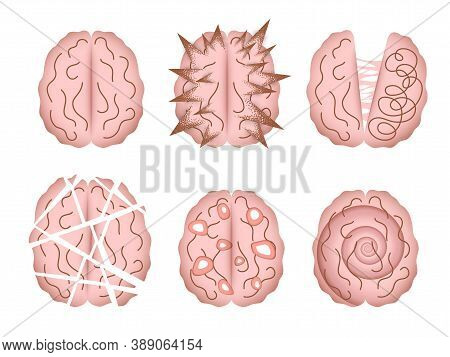 Mental Disorder Vector Illustrations Isolated. Abstract Depictions Of Human Brain Altered By Various