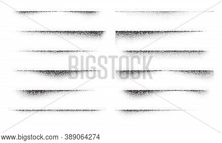 A Set Of Stipple Gradient Shadow From Paper Sheet, Various Stipple Hatching Technique Shadow Effects