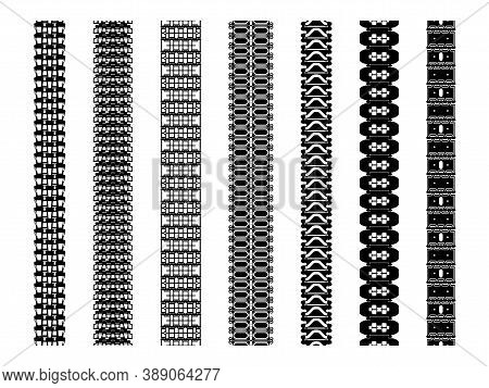 Set Of Tank Track Treads Isolated On White. Various Caterpillar Tracks An Impressed Treads Of Heavy