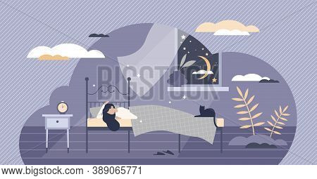 Good Night Sleep And Sweet Dreams As Healthy Relaxation Tiny Person Concept. Tight Nap And Rest In B