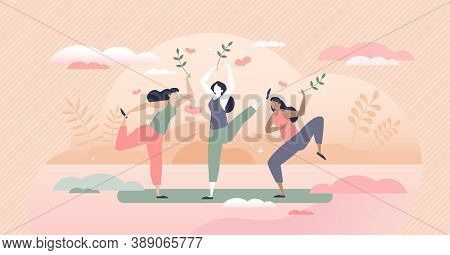 Body Positive Lifestyle With Healthy Or Vitality Activity Tiny Person Concept. Wellness Training For